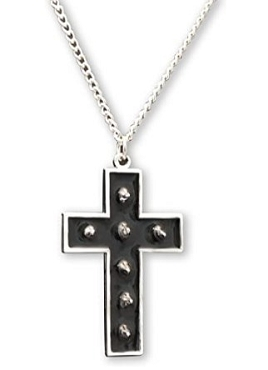 GOTHIC VAMPIRE WITCH SPIKED CROSS WITH HAND PAINTED BLACK ENAMEL PENDANT NECKLACE (ONLY 1 LEFT!)